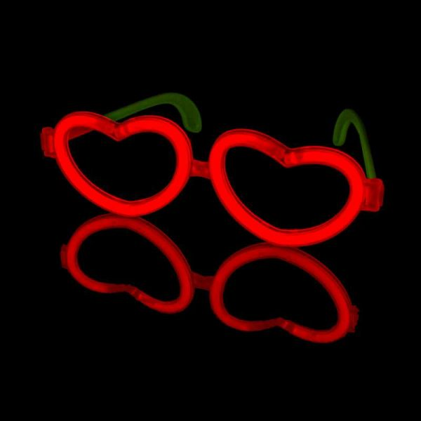 Glow bril hartvorm (5 stuks) 1 Hartvorm bril 6