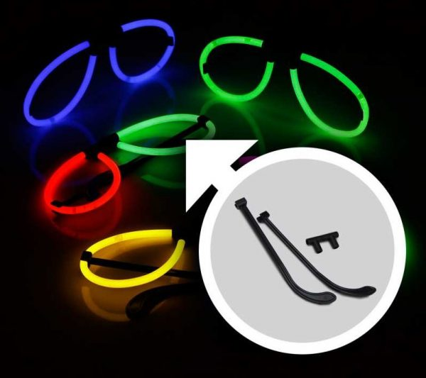 Glow feestpakket 221 delig. Breeklichten, Glowbrillen, 5 knicklicht party pack 100 x 20 cm knicklichter 100x 3d verbinder 5x kreisverbinder 4x creolen 2 x 7 lochverbinder 5 x leuchtbrille 5 x haarreifen 12