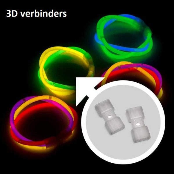 Glow feestpakket 221 delig. Breeklichten, Glowbrillen, 2 knicklicht party pack 100 x 20 cm knicklichter 100x 3d verbinder 5x kreisverbinder 4x creolen 2 x 7 lochverbinder 5 x leuchtbrille 5 x haarreifen 6