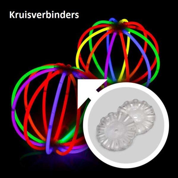 Glow feestpakket 221 delig. Breeklichten, Glowbrillen, 7 knicklicht party pack 100 x 20 cm knicklichter 100x 3d verbinder 5x kreisverbinder 4x creolen 2 x 7 lochverbinder 5 x leuchtbrille 5 x haarreifen 8