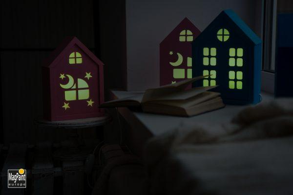 Glow in the dark verf 12 GP DIY houses scaled